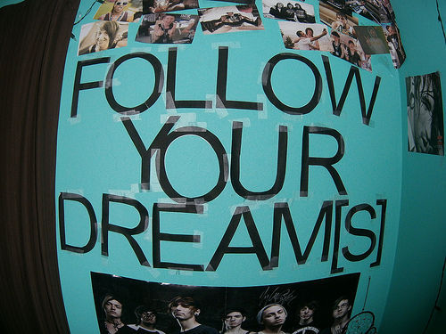 blue, follow your dreams, girl, hair, photography, quote, st0ned, text