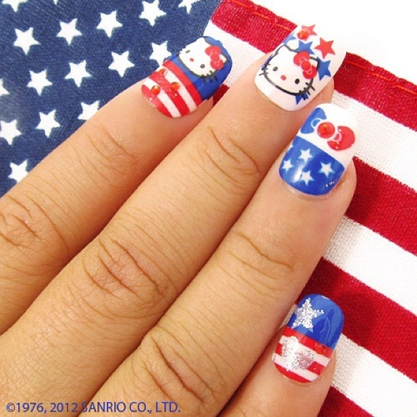 blue, fourth of july, hello kitty and nail polish