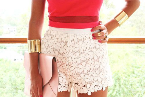 body, bracelet, clothes, clutch, clutch bag, colorful, cute, details, fashion, flowers, girl, girly, gold, jewelry, lace, nail polish, outfit, pink, pretty, red, ring, shorts, skin, summer, top, white