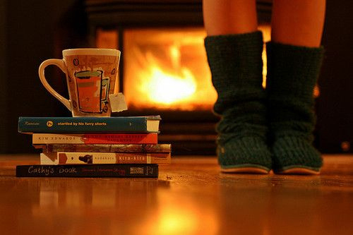 books, cozy, cute, fire