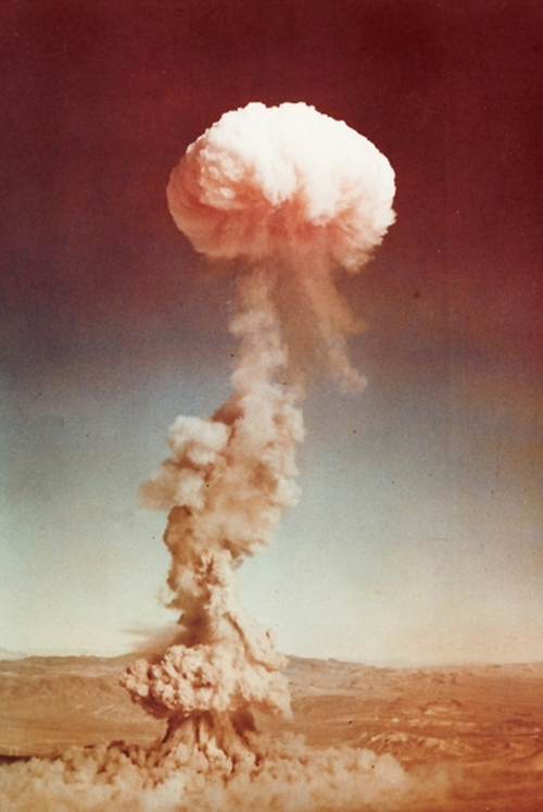 boom, cloud, destruction, dirt, dust, explosion, mushroom cloud, nuclear explosion, photography, smoke, vintage