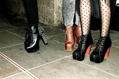 boots, fashion, girls, heels, hipster, indie, laces, platforms, polka dot, shoes, spikes studs, tights