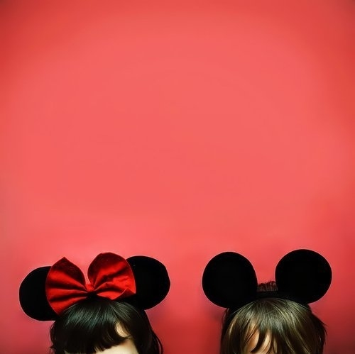 bow, brown, brunette, costume, fun, hair, mickey, minnie, minnie mouse, mouse, pink, red, ribbon