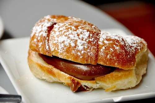 Breakfast chocolate croissant cute delicious filled fluffy food