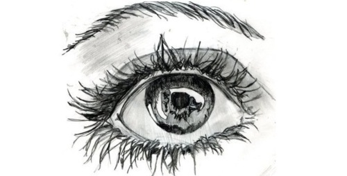 brown, city, comsmetics, drawings, eye, life, live, mascara, world