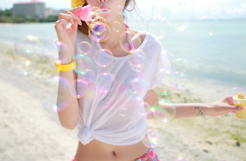 bubbles, gilr, girl, summer
