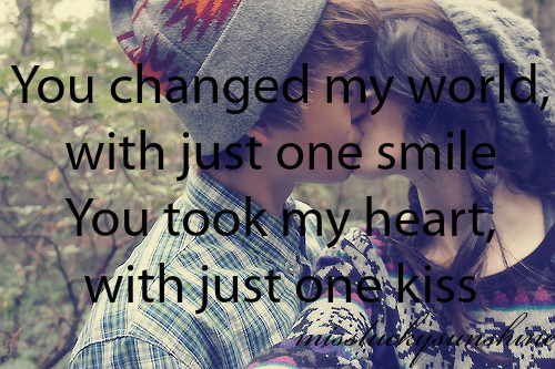 changed, couple, couple kissing, hat, heart, kiss, love, missluckysunshine, one, quote, shirt, smile, text, trees, tumblr, world