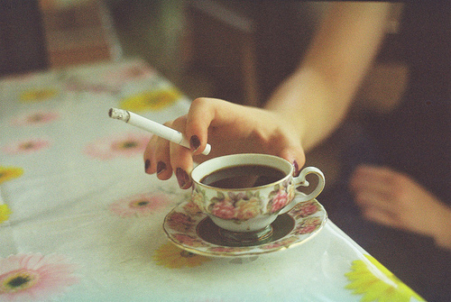 cigarette, cup, film, flower, flowers, grain, hipster, mug, nails, rose, roses, tea
