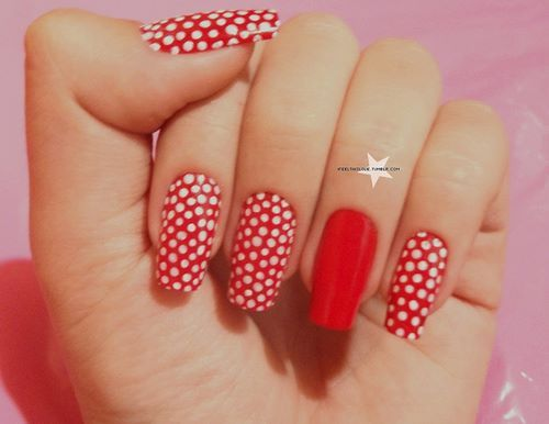 cool, lunares, nail art, nails, red