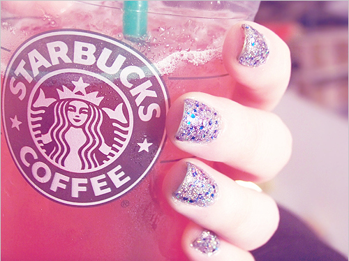 cute, drink, fashion, nails, starbuck, tasty