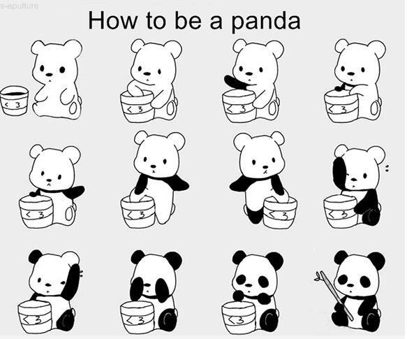 cute, paint, panda
