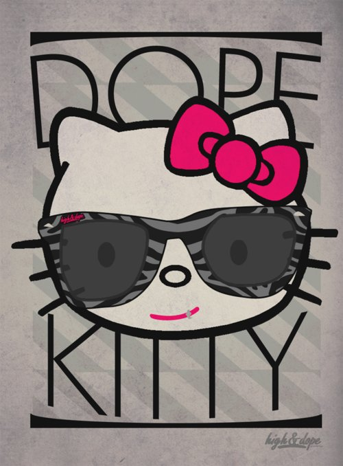 dope kitty, hello kitty, high&dope