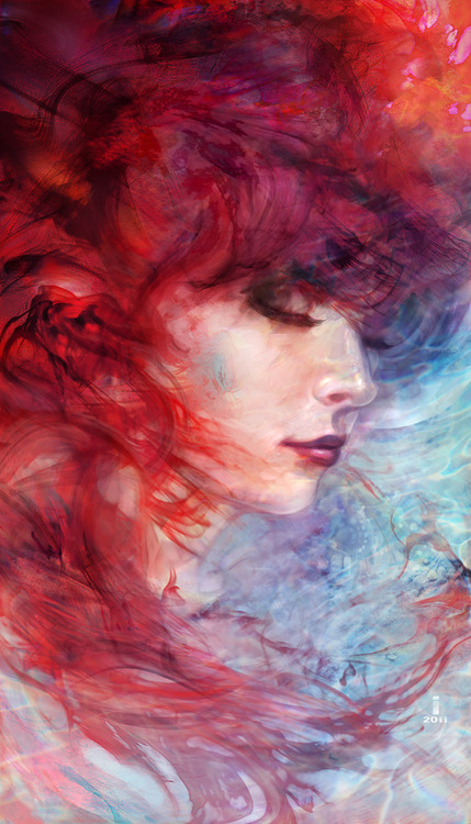 art, colors, colourful, drawing, dream, eyes, girl, hair, lady, lips, make up, painting, water, watercolor, wind, woman
