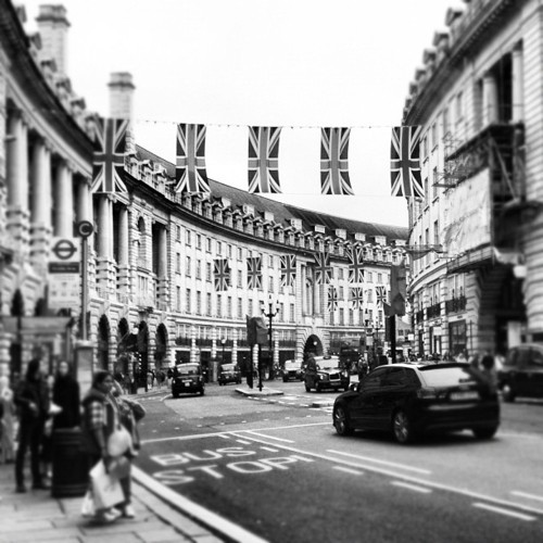 black and white, britain, dream, england, london, photo, photography, regent street, street, uk, union jack