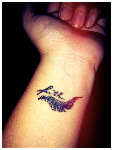 faith, feather, hand, tattoo, text, typo, typography, wrist