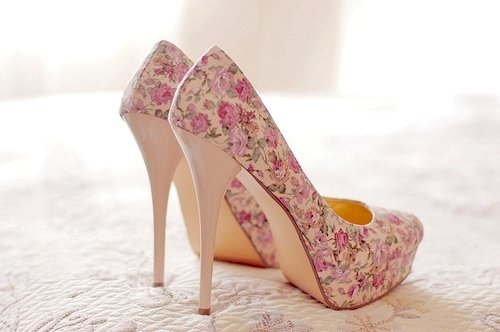 fashion, flowers, high heels, pink, shoes