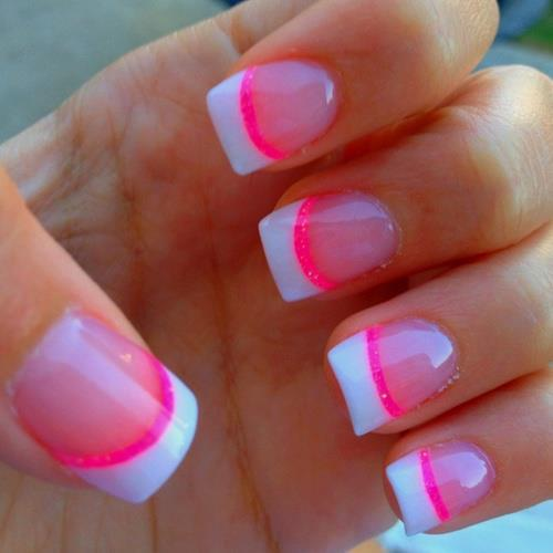 Fashion french nails manicure ideas nail art nails neon pink