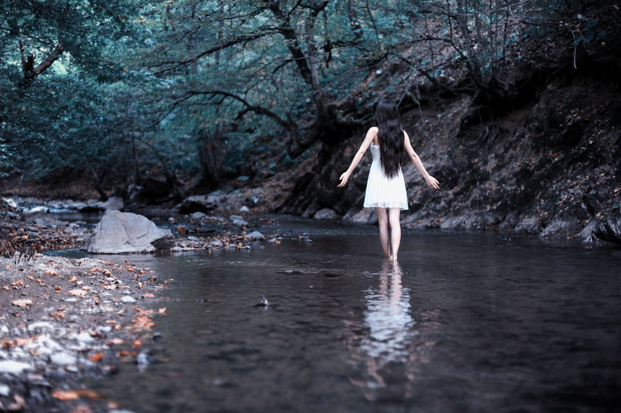 forest, girl, nature, river, water