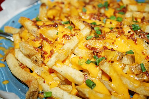 bacon bits, cheese fries and french fries