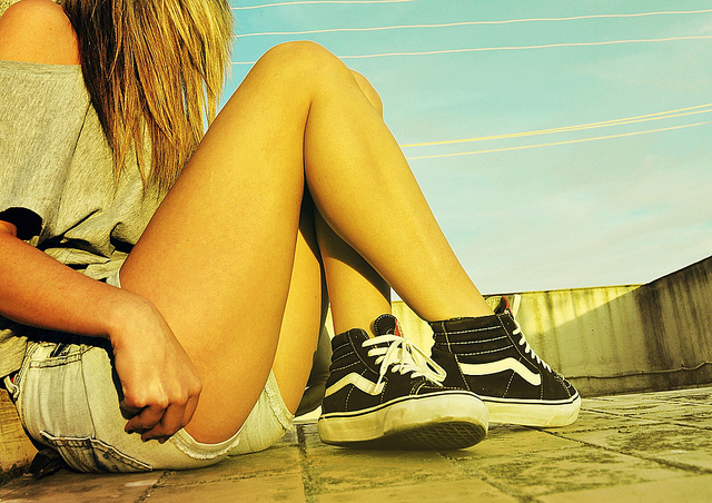 girl, shoes, shorts, style