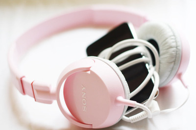 headphones, music, pink, sony