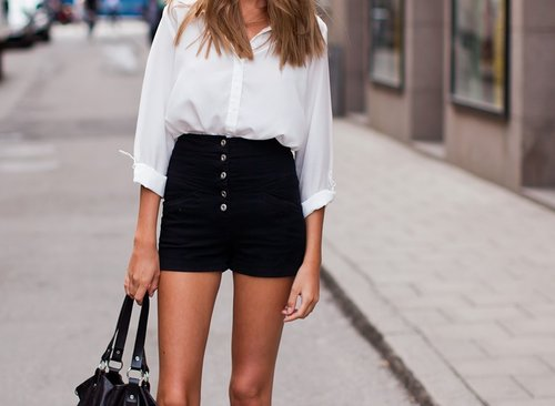 bag, black, blonde, fashion, hair, hot, legs, love, shirt, shorts, skinny, summer, white