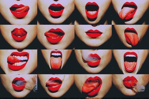 lips, red, tongue