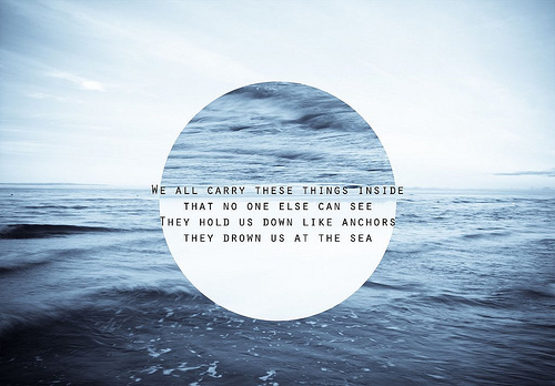 anchor, b&w, beach, black and white, blue, bmth, bring me the horizon, carry, clouds, dow, down, fish, hold, inside, lyrics, ocean, pretty, quote, sea, sky, suicide season, text, wave, waves, white