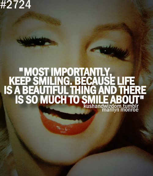 marilyn monroe, beautiful, keep smiling, life
