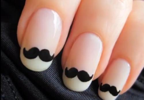 moustache, nail art, nails