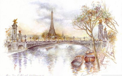 adore, art, city, drawing, eiffel, europe, heart, love, painting, paris, romance, romantic, seine, tour, travel, traveler, traveling, vintage