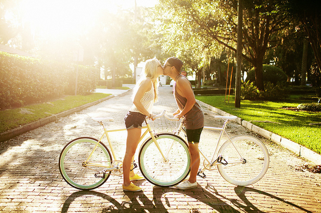 sunny, bike, bikes, couple