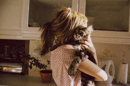 adorable, brunette, cat, cats, cute, fashion, girl, gorgeous, hippie, hipster, kitty, love, old, photography, pink, pretty, sweet, vintage