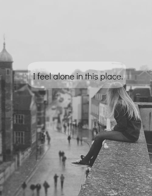 alone, girl, place, text