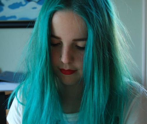alpine green, alternative, blue hair, girl, green hair, hairdye, hairstyle, piercing
