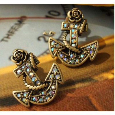anchor, boat, earrings, stud, vintage