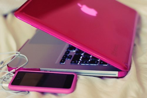 apple, iphone, macbook, pink