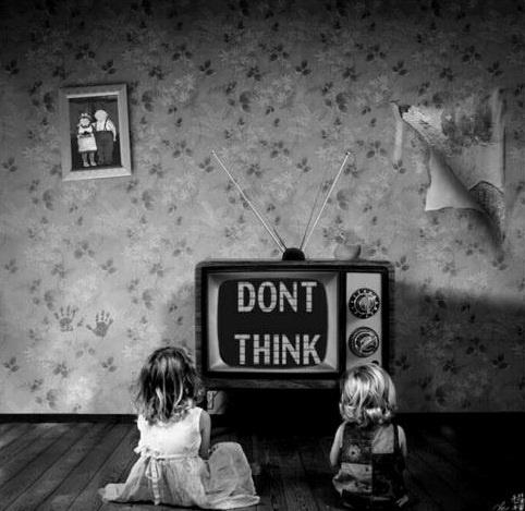art, black and white, child, do not, kids, little girl, old, photo, retro, television, think, tv, vintage