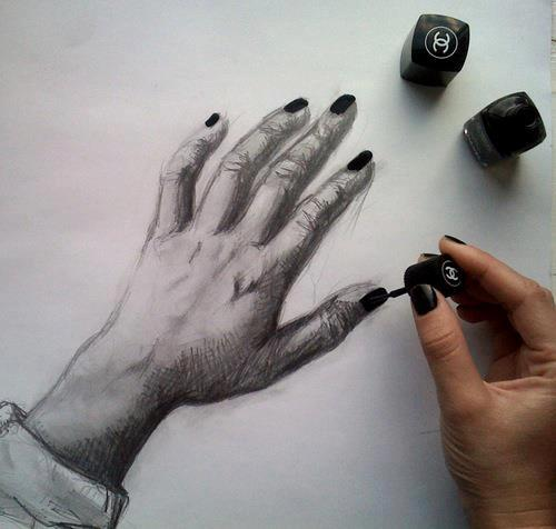 art, black, drawing, nail polish