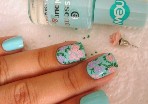 art, blue, cute, fashion, nailart, nails, pink
