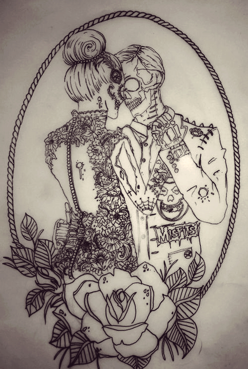 Art bun couple drawing image 645926 on for Mirror zombie girl
