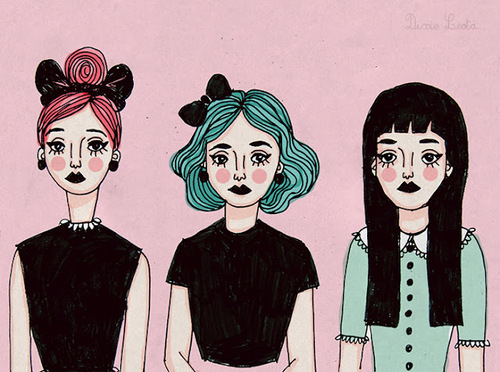 art, colors, cute, drawing, girl, girls, goth, hair, outfit, pastel, pink, pretty, style