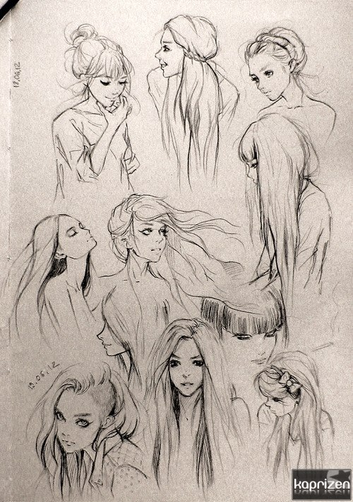 art, drawing, girl, hair, illustration, image, pencil