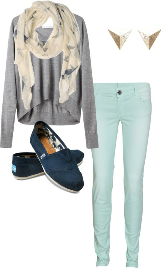 Autumn blue clothes cute fall fashion grey outfit photography