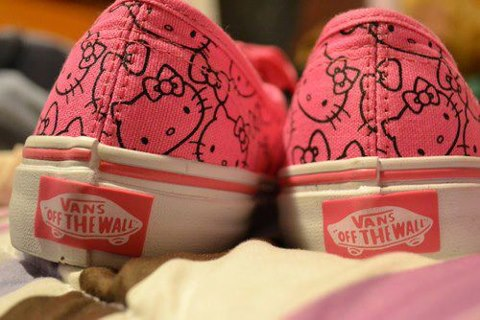 awesome, cool, cute, girls, girly stuff, girly things, hello kitty, pink, shoes, vans
