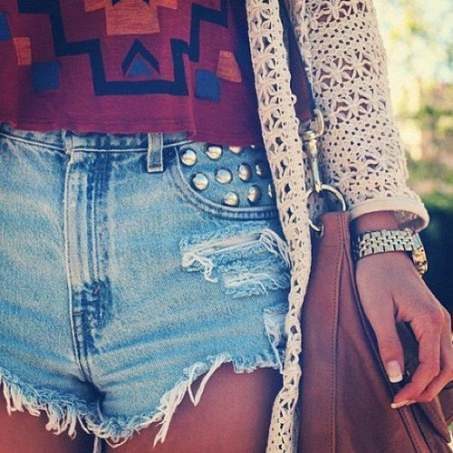 bag, boho, fashion, girly, high waisted, manicure, nails, shorts, studs, summer, vintage