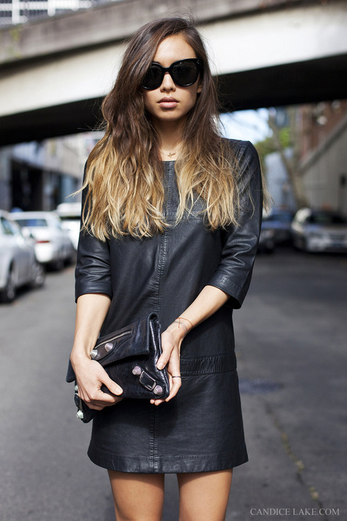 balenciaga, beautiful, blogger, clutch, fashion, fashiontoast, girl, hair, leather, model, ombre, rumi neely, street, style, sunglasses