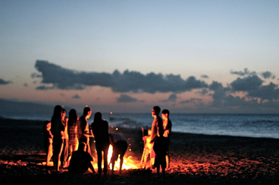 Beach Bonfire Friends Fun
