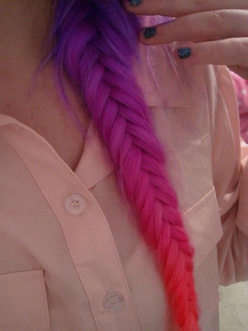 beauty, dip dye, fashion, hair, inspiration, love, nails, pink, purple, style