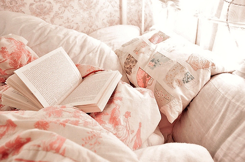 bed, bedroom, books, pink